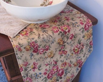 "Floral Tan Table Runner 72"" Reversible Beige Pink Table Runner Pink Floral Runner Tan Pink Runner Neutral Table Runner Beige Dresser Scarf"