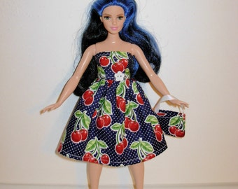 Handmade barbie clothes, CUTE dress and bag for new barbie curvy doll