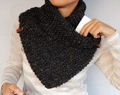 Anthracite Gray Knit Scarf Unisex Chunky Infinity Cowl,  Envelop Scarf Alpaca Wool, Men Knitted Neck Warmer, Leather Accent, Winter