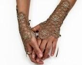 Lace Evening Fingerless Gloves, Wrist Charms Bridal Cuffs, Bridesmaids Gift, Dusty Oil Green, Antique Bronze Guipure Lace, Unique Design