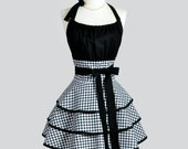 Flirty Chic Apron / Black and White Gingham Vintage Style 3 Layer Skirt Kitchen Apron