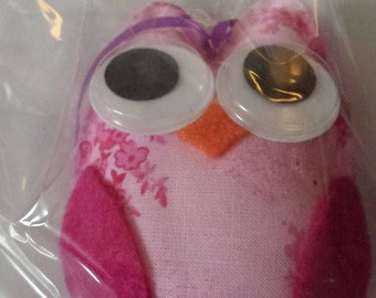 Whimsical Pink Owl Ornament