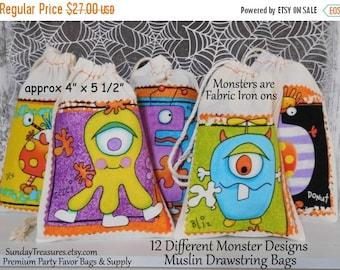 Fall Sale 12 Fabric Monster Muslin Drawstring Favor Bags / 4x5 / Assorted Monster Designs / Kids ClassRoom Halloween Birthday Treat Bags / 3