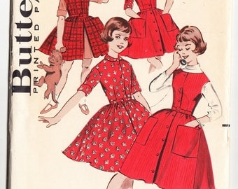Vintage 1960 Butterick 9087 UNCUT Sewing Pattern Girl's Dress and Jumper Dress Size 12