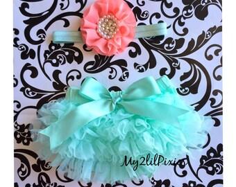 Baby Bloomer and Headband Set- Ruffle Bum Baby Bloomer, spring set , mint tutu bum bloomer ,newborn bloomer, baby girl photo prop