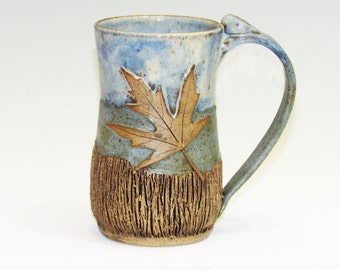 Textured Two Tone Mug with Maple Leaves
