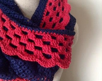 Crochet Fabric Textured Infinity Scarf