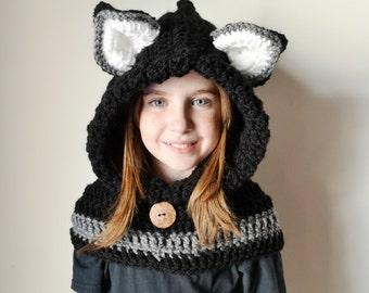 Fox Hat - Fox Hoodie - Fox Cowl - Animal Hat - Hooded Scarf - Crochet Hoodie - Chunky Crochet Hat - Animal Scarf