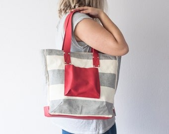 SALE 15% Shopper tote bag in stripe blue canvas and red leather, shoulder bag women purse large bag tote - The Aella tote