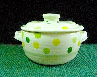 STONEWARE CASSEROLE ,Polka Dot, ,free pendant with each order