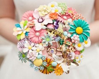 Rainbow bouquet, Daisy bouquet, brooch bouquet, keepsake bouquet, rhinestone bouquet, vintage flowers, brooch flower, multicolour wedding