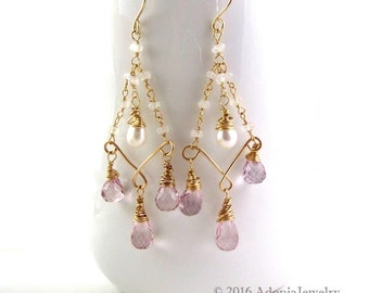 Pink Amethyst Chandelier Earrings - AdoniaJewelry