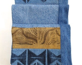 Handprinted long denim scarf, table runner or wall hanging