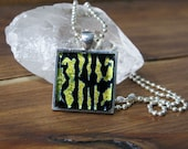 Yellow Black Misfit Zebra Square Glass Necklace, Dichroic Jewelry, Dichroic Pendant, Fused Glass Jewelry, Country Rock Neckalce