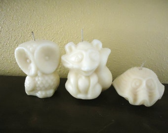 25  Scented Cute Owl Raccoon Clam Shell Natural Soy Candles Gift Favors