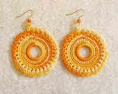 Crochet Earrings Lace Doily Dangles Circle Jewelry Autumn Fashion Tangerine Yellow Ombre Thread Gift for Her Glass Beads
