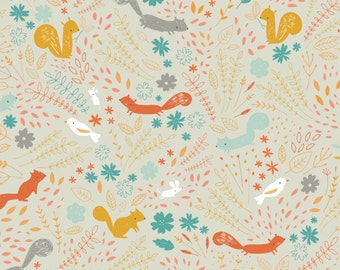 Blend Fabrics - Faraway Forest Collection - Treetop Hop in Taupe
