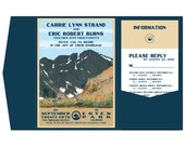 Vintage Long's Peak Wedding Pocket Fold Invitation, Info Card and Reply Postcard (set of 95) - Remaining Balance