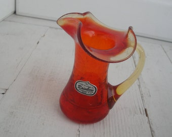 Vintage Red Crackle Pitcher Miniature Rainbow Glass