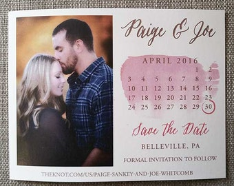 Watercolor Save the Date, photo, calendar, save the date, wedding