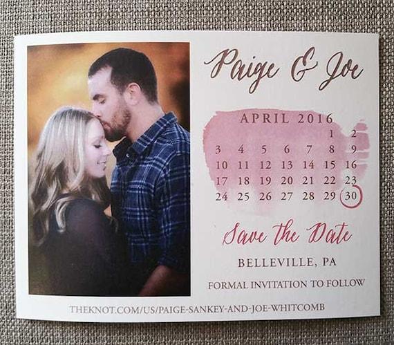 Printable Pink Watercolor Calendar Save the date, Calendar Save the Date Template, Photo Save the Date, Watercolor, blush save the date, diy