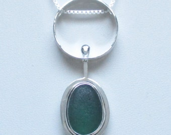Sea Glass Jewelry - Sterling Green English Sea Glass Necklace