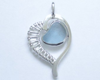 Sea Glass Jewelry - Sterling Blue English Sea Glass Weaved Heart Pendant