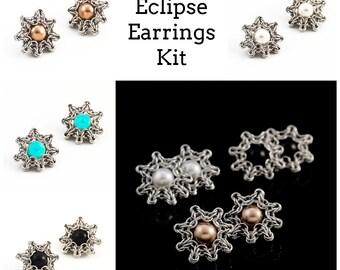 Celtic Eclipse Post Earrings Kit - Swarovski Pearl and Comfortable Aluminum