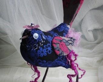 Textile Bird, Textile sculpture, Soft sculpture,Small decorative Bird, Stuffed Bird Sculpture