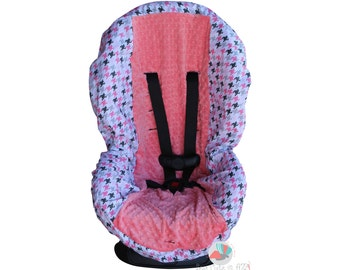 SHIPS TODAY Toddler Car Seat Cover Houndstooth Bella Bloom with Bubblegum