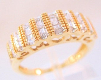 BIGGEST SALE of the Year MOM 10k Diamond Baguette .35ct Band Ring Size 7.25 Fine Vintage Jewelry Jewellery