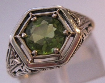 10% OFF SALE 1CT Natural Peridot Sterling Silver Edwardian Style Filigree Ring Sz 6 Vintage Jewelry Jewellery