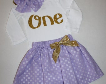 purple and gold girls first birthday outfit, glitter 1st birthday outfit, cake smash outfit, glitter gold one first birthday bodysuit skirt