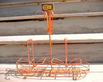 "Vtg MCM Mid Century Eames Danish Mod Mug Tree Rack Orange Wire Table Caddy 16"" Pop Art Surrealism"