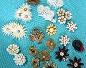 Lot of Broken and Odd Vintage Earrings and one Broken Brooch - for Craft or Repair