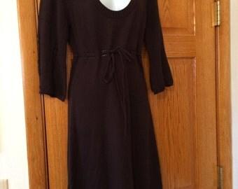 Vintage 80s Dark Brown Deep V Knit Day Dress size Large