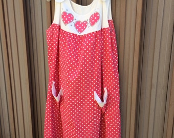 Vintage 80s Pink White Hearts Polka Dot Summer Picnic Cotton House Dress Day Dress Size Large