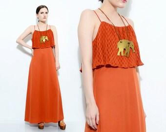 70s Rust Brown Crochet Lace Crop Top Spaghetti Strap 1970s Boho Hippie Maxi Dress Small Medium S M