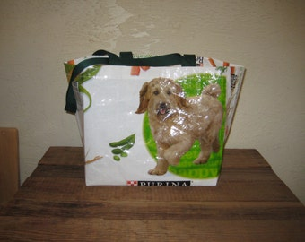 Reusable Recycled Upcycled Medium Dog Food Tote Bag Market Purse