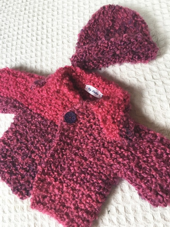 Newborn Knit Baby sweater and matching hat Fushia pink and purple handmade baby sweater ready to ship