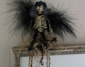 Halloween Skeleton, Embellished, Vintage tulle and Jewelry, Feather Wings