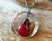 Czech Picasso Red Briolette dangling with Mixed Metal Rings on a Copper Figaro Chain Necklace
