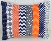 Pillow Cover, Baby Boy Nursery Decor, Patchwork Pillow Cover, Crib Bedding, 12 x 16 Inches, Navy Blue, Charcoal, Gray, Grey, Orange