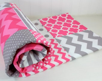 Girl Baby Blanket, Nursery Decor, Crib Blanket, Photography Prop, Patchwork Baby Blanket,  Minky Blanket, Pink, Grey, Gray, Chevron, Stripes