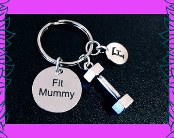 Fitness keychain, fitness gift, Fit mummy key ring, mom into fitness gift, mum fitness keychain, 3D dumbbell charm, Fit Mummy PT UK