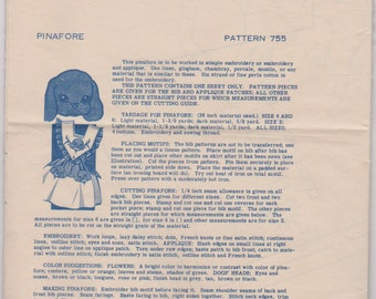 """Mail Order Pattern """"Pinafore- With Puppy Applique"""" Size 4"""