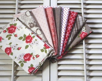 9 Fat Quarter Bundle   Browns, reds, creams On Sale
