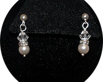 Kids Earrings, Little Girl Earrings, Flower Girl Earrings, Pageant Earrings, Kids Jewelry, Pearl and Crystal Earrings, Bling Earrings