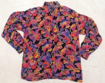 Tropical Parrot Floral Print Blouse Vintage