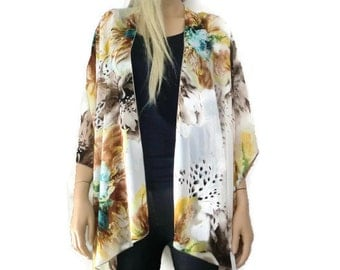 Taupe floral- Boho Kimono- Gorgeous floral print in taupe,brown,teal, yellow and teal Kimono cardigan -  Chiffon summer collection